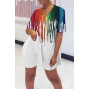 lovely Casual Tie-dye Prin White Two-piece Shorts