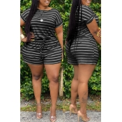 Lovely Casual Striped Black Plus Size Two-piece Shorts Set(Batch Print)