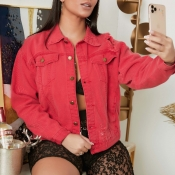 lovely Casual Turndown Collar Red Denim Jacket