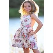 lovely Sweet Floral Print White Girl Knee Length D