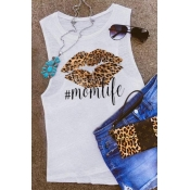 lovely Casual Lip Print White Camisole