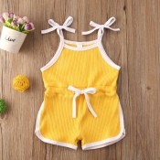 lovely Sportswear Lace-up Yellow Girl One-piece Ro