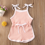 lovely Sportswear Lace-up Pink Girl One-piece Romper