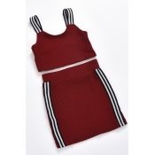 lovely Trendy Patchwork Wine Red Girl Two-piece Sk