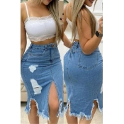 lovely Stylish Broken Holes Blue Plus Size Denim S