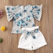 lovely Sweet Plants Print Blue Girl Two-piece Shor