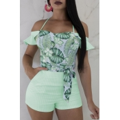lovely Bohemian Floral Print Backless Green One-pi