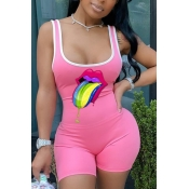 Lovely Casual U Neck Lip Print Pink One-piece Romper