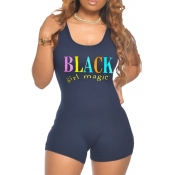 lovely Casual O Neck Letter Print Black One-piece