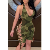 lovely Sexy Camo Print One-piece Romper