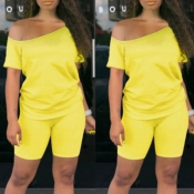 lovely Casual Off The Shoulder Yellow Two-piece Sh