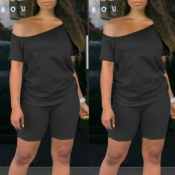 lovely Casual Off The Shoulder Black Two-piece Sho