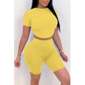 lovely Leisure O Neck Yellow Two-piece Shorts Set