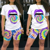 lovely Leisure Lip Print Purple Two-piece Shorts S