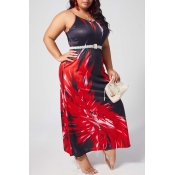 lovely Casual Spaghetti Strap Print Red Ankle Leng