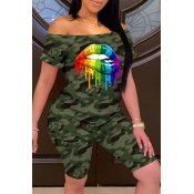 lovely Casual Camo Print Army Green Plus Size Two-piece Shorts Set