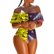 lovely High-waisted Print Patchwork Yellow Two-piece Swimsuit