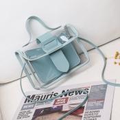 lovely Casual See-through Skyblue Messenger Bag