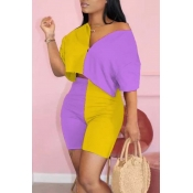 lovely Street Patchwork Yellow Two-piece Shorts Se