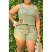 lovely Casual O Neck Drawstring Design Green One-piece Romper
