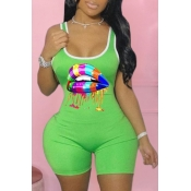 lovely Casual Lip Print Green Plus Size One-piece