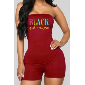 lovely Casual Letter Print Wine Red One-piece Romp