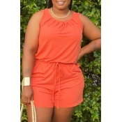 lovely Casual O Neck Drawstring Design Orange One-piece Romper