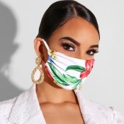 Lovely Casual Plants Print Cyan Face Mask