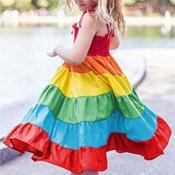 lovely Sweet Rainbow Striped Multicolor Girl Knee