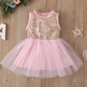 lovely Stylish Sequined Patchwork Pink Girl Knee L