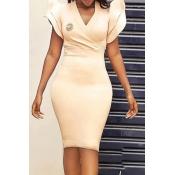 lovely Trendy Fold Design Khaki Knee Length Dress