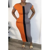 lovely Casual Patchwork Orange Ankle Length Dress