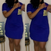 lovely Casual O Neck Pocket Patched Blue Mini Dres