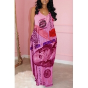 lovely Casual Print Rose Red Maxi Dress