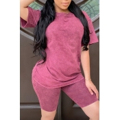 lovely Casual Basic Wine Red Two-piece Shorts Set