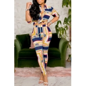 lovely Trendy Print Blue Two-piece Pants Set