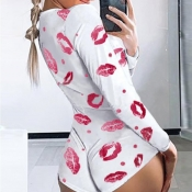 lovely Casual Lip Print Pink One-piece Romper
