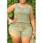 Lovely Casual O Neck Drawstring Green Plus Size On
