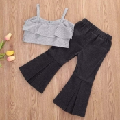 lovely Trendy Striped Black Girl Two-piece Pants S