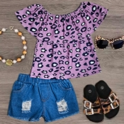 lovely Stylish Print Purple Girl Two-piece Shorts