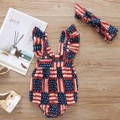 lovely Casual Print Blue Girl One-piece Romper