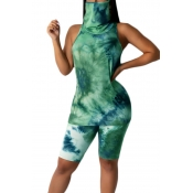 lovely Casual Tie-dye Green Two-piece Shorts Set