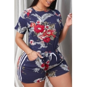 Lovely Street Plants Print Blue Plus Size Two-piec