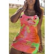 Lovely Casual Broken Holes Multicolor Mini Dress