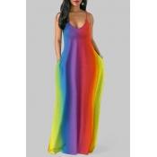 Lovely Casual Spaghetti Strap Striped Print Multicolor Maxi Plus Size Dress