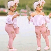 lovely Casual Striped Pink Girl Two-piece Pants Set