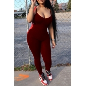 lovely Casual Spaghetti Strap Wine Red One-piece Jumpsuit
