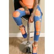 lovely Stylish Broken Holes Clear OrangeJeans