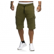 Lovely Casual Pocket Patched Green Shorts