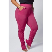 lovely Casual Basic Skinny Wine Red Plus Size Pant